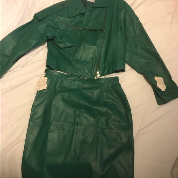 Avon Fashions Skirts 80s Vintage Green Leather Skirt Suit Poshmark